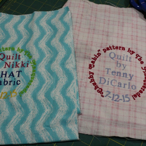 You'll get an embroidered label for your quilt!